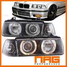 BMW SERIE 3 E36 COUPE CABRIOLET PHARES PHARE FEUX AVANT ANGEL EYES NOIRS 92-99