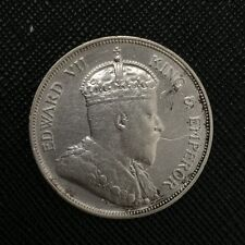 Straits Settlements 1907 H Heaton Edward 50 cents silver coin