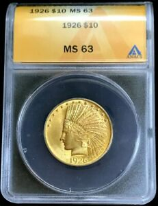 1926 GOLD UNITED STATES $10 INDIAN HEAD EAGLE COIN ANACS MINT STATE 63