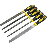 "5Pc 8"" 200Mm Soft Grip Assorted Engineer Metal File Set - PERFECT 5 PIECE GIFT"