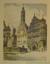 Gravure originale signée Rothenburg o.d. Tauber Original Radierung  handsigniert
