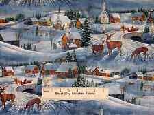 Winters Eve Scenic #42053 Deer Horse Sleigh Snow Church House Cotton Fabric YARD