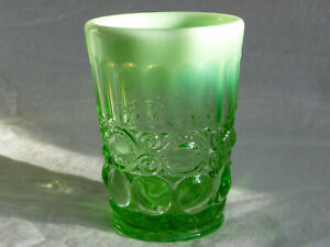 "MOSSER GLASS 4"" Tumbler EYE WINKER Green Opal USA Opalescent Pressed (6 avail)"