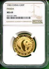 CHINA 1983 PANDA 1/2 OZ   Gold  50 Yuan  NGC   MS 69
