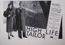 PUBLICITÉ DE PRESSE 1934 HIGH LIFE TAILOR TOUT LAINE AUTOMNE HIVER - ADVERTISING