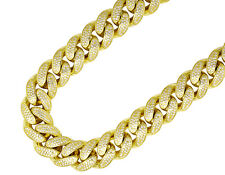 Sterling Silver Yellow Gold Lab Diamonds Miami Cuban Link Chain Necklace 14mm