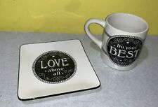 Colossians 3:23 Coffee Cup Mug Cracker Barrel Do Your Best w/ Love Square Saucer