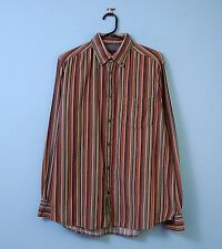 Vintage Cord Shirt Multi-Coloured Striped w/ Button Down Collar Mens Large 41/42