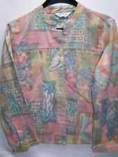 Orvis Pastel Aztec Tribal Mandarin Collar Art to Wear Jean Denim Jacket Medium