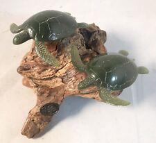 John Perry Turtles Sculpture on Burl Wood faux Jade