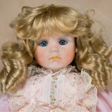 """Delton Collector's Porcelain Girl Doll 18"""" Blond Hair With Curls Blue Eyes"""