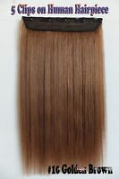 200g 3/4Half Head Remy 5Clips On One Hairpiece Clip In Real Human Hair Extension