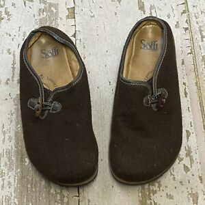 Sofft Women's Toggle Detail Brown Wool Leather Clogs Mules Slip On Cork 9.5