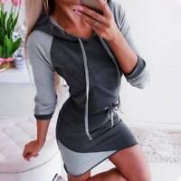 Womens Ladies Long Sleeve Midi Dress Bodycon Sweatshirt Jumper Casual Hoodies