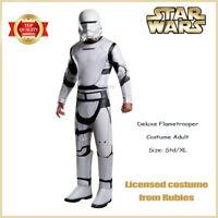 Men Star Wars Deluxe Flame Trooper Costume White Flametrooper Adult Helmet Clone