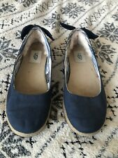 Womens Navy Blue Ugg Flat Shoes Size 5 Uggs Fleece Lined Pumps