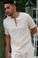 Mens Bohio 100% Cotton-Gauze Natural Short Sleeve Henley Shirt ( Medium )-MCS200