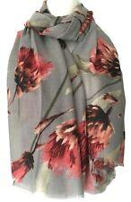 Grey Scarf Ladies Pink Floral Wrap Large Thistle Flower Flowers Print Shawl