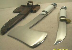 1950's~WESTERN~UNUSED~WHITE HANDLE~HUNTING KNIFE & CAMP AXE COMBO w/ORIG. SHEATH