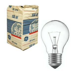 1 x 100W Clear Light Globe Bulb E27 Screw Incandescent Dimmable - GE Vintage