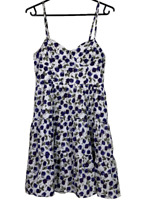 PORTMANS | Lined Cotton Summer Sun Dress | White With Blue Roses |  Size 12