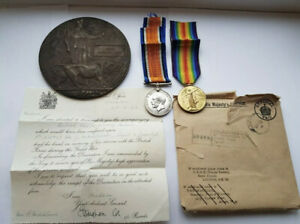 WW1 DEATH PLAQUE,WAR & VICTORY MEDALS WITH LETTER, ORIGINAL ENVELOPE & STAND