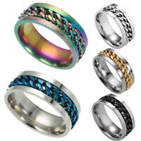 8mm Men's Women Fashion Spinner Chain Ring Titanium Steel Wedding Band Size 7-12