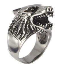 Massiver Ring Wolfskopf Hund 3D Biker Kelten Mittelalter Gothic Indianer 10P152