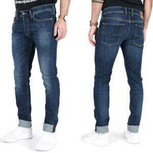 Diesel Mens Slim Skinny Fit Stretch Denim Jeans Dark Blue Sleenker X 083AW
