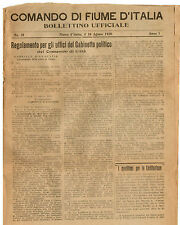 Comando di Fiume d'Italia Bollettino Ufficiale 26 Agosto 1920 Lettera al Popolo