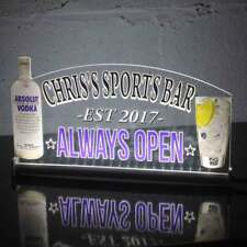 "Vodka Bar Personalizado Home Bar LIGHT UP LED signo, Neón, Bar Abierto signo, 12""x6"""