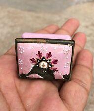 Vintage Rare Original Floral Design Engraved Copper Enamel Snuff / Patch Box