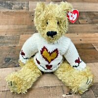 """Ty Beanie Baby Heartley Jointed Bear w Hearts Sweater NWT 12.5"""" Plush Valentines"""