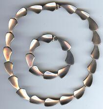 Silver Necklace & Bracelet Set Vintage Modernist Signed Mexico Sterling