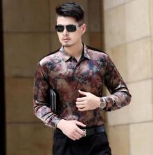 Mens Velvet Floral Long Sleeve Shirts Business Slim Fit Floral Top S-3XL Fashion