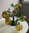 Vintage Mid-Century Venetian Hand Blown Glass Amber Fruit Tree Art Sculpture