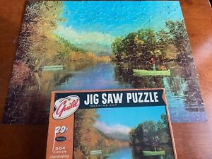 Jigsaw Puzzle Vtg Guild 304 Pc St. Joe River Michigan Fishing Dog Complete R3