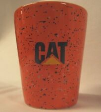 CAT Caterpillar Logo On Orange Speckled Shot Glass