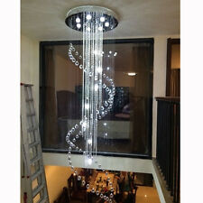 """H94.5"""" x W28"""" Modern Contemporary Clear Spiral Crystal Chandelier Ceiling Light"""