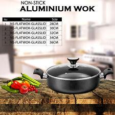 Non Stick plat cuisson Wok avec Couvercle en Verre Aluminium Deep Karahi 28/30/3...