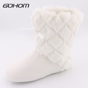 Womens Fuzzy Winter Warm Bootie Slippers Furry Indoor Plush House Shoes Sz 6-11