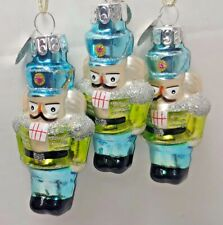 "RADKO  MINI 3"" blown glass NUTCRACKER CHRISTMAS ORNAMENT NEW Blue Hat"