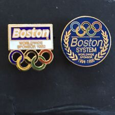 2 - Vintage Boston Systems Olympic  Pins -  1992 &1994 /1996 Official Sponsor