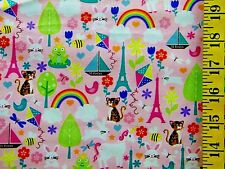 SWEET DREAMS ROSLYN THE CAT PRINT 100% COTTON FABRIC BY THE 1/2 YARD