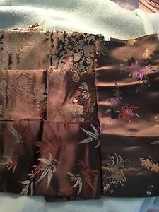 4 Fat Quarters Woven Asian design Poly-Nylon Brown/ Green Fashion Brocade Fabric