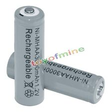 2x AA Rechargeable Battery Bulk Nickel Hydride NI-MH 3000mAh 1.2V Grey