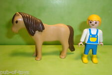 Playmobil: poney brun avec enfant playmobil / brown pony with child