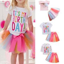 Girl Kid Shirt Tutu Skirt Dress Up T-Shirt Rainbow Birthday Party Costume Outfit