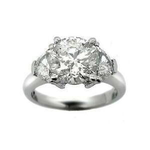3.65 ct H SI2 ROUND CUT DIAMOND 3 STONE ENGAGEMENT RING