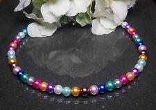 Bezaubernde farbenfrohe Perlen  Kette  Colier multicolor  43 cm handgef. NEU
